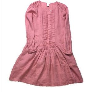 ♡ SUNDANCE LINEN PINTUCK SALMON CORAL PINK DRESS♡